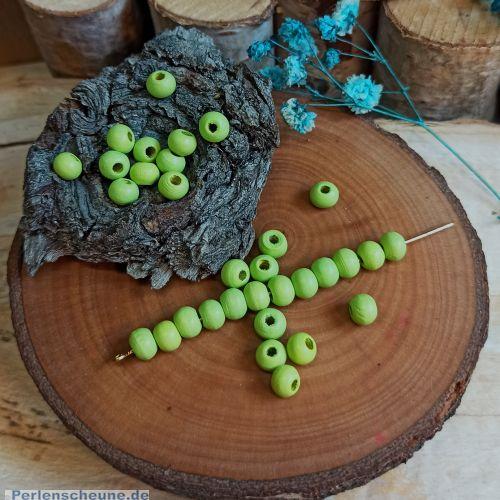 Set mit 50 Holzperlen Kugeln apfelgrün 6 mm Kinderperlen