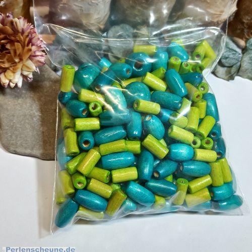 Set mit 100 Holzperlen Mix türkis grün 6 - 16 mm Kinderperlen