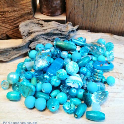 Perlenset mit über 100 Perlen Mix 80g türkisblau ca. 6 - 25 mm