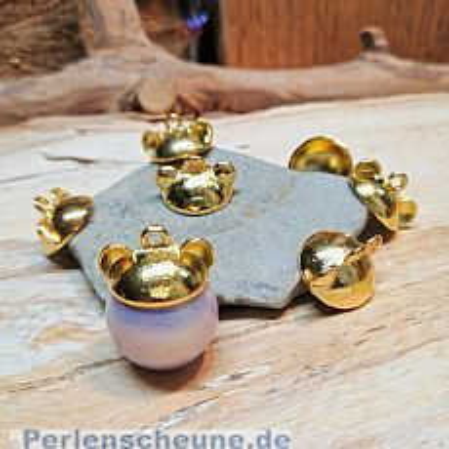 1 Metallanhänger Perlkappe gold  Hut mit Ohren Bär Maus