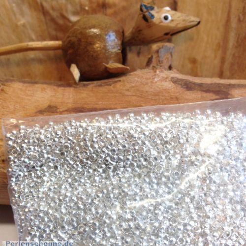 10 g Quetschperlen Rondelle Metall silber 2 x 2 mm Loch ca. 1 mm