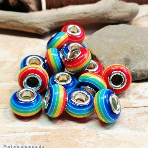 10 Resin Streifen Grosslochperlen für Modulketten