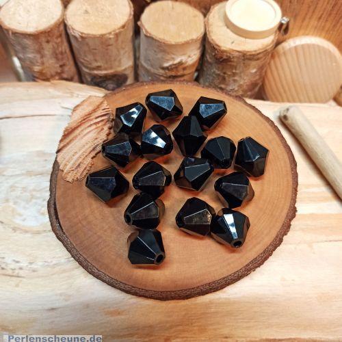 10 schöne schwarze Rhomben Perlen 16 mm Kunststoff