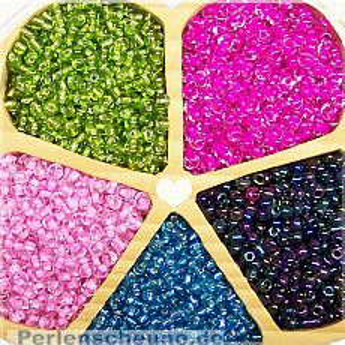 5 x 20 g Glasperlen Rocailles Trendfarben 3-4 mm