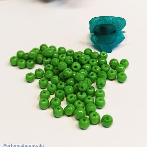 50 Glasperlen Kugeln Rocailles moosgrün 4 mm opak