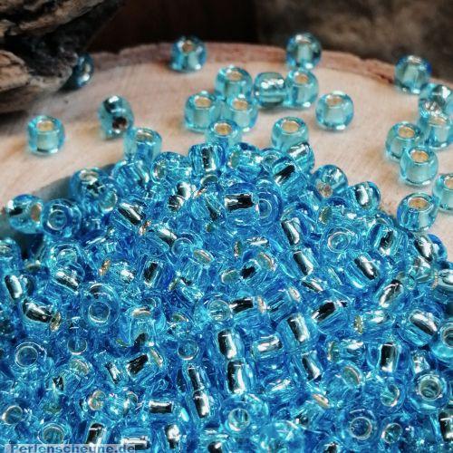 20 g Glasperlen Rocailles mit Silbereinzug türkis 3-4 mm