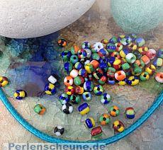 270 gestreifte Rocailles Glasperlen o. 20 g im buntem Mix 3 - 4 mm