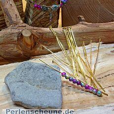 20 Metall Kettelstifte mit Kappe goldfarben 70 mm