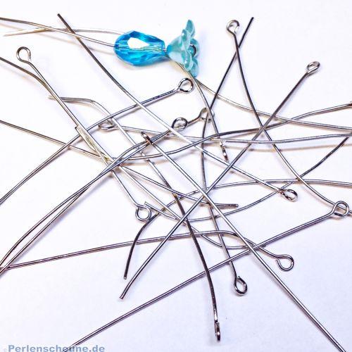 20 Metall Kettelstifte mit Öse silber antik 70 mm