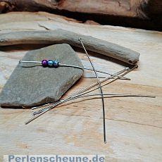20 Edelstahl Kettelstifte mit Kappe silber antik 70 mm