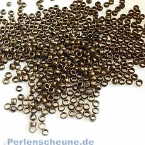5 g Quetschperlen Rondelle bronze antik 2 mm