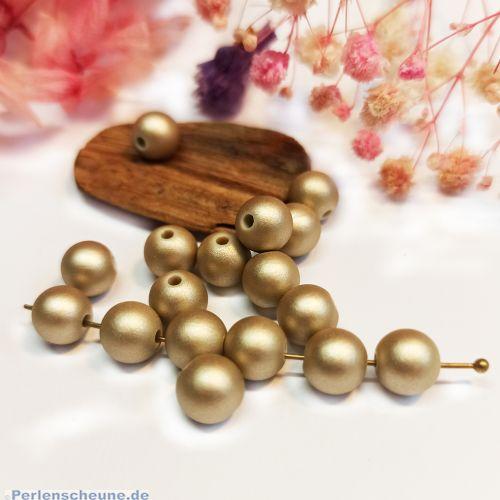 20 Silikonperlen 8 mm pastell gold beige Seidenglanz