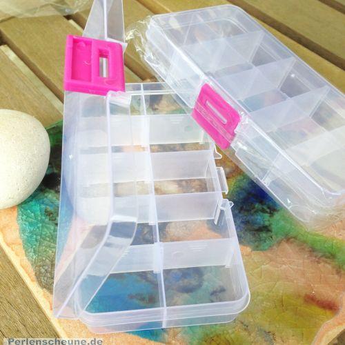 Perlen Sortierbox Acryl Rechteck 12,8 x 6,7 x 2,5 cm