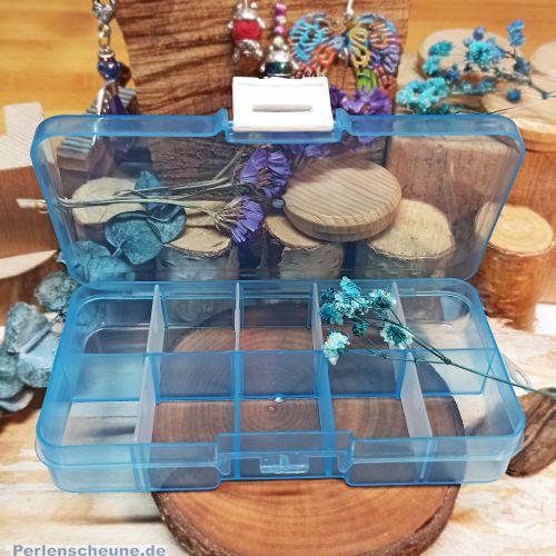 Perlen Sortierbox Acryl Rechteck 12,8 x 6,7 x 2,5 cm türkis