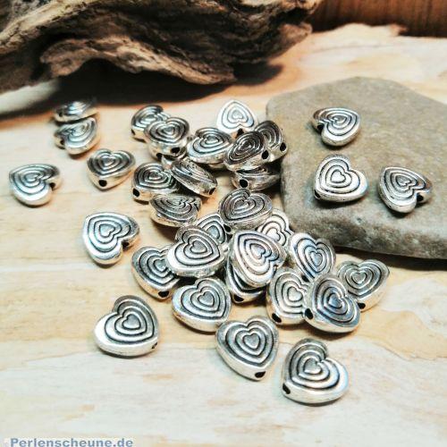 10 Metallspacer Perlen Herzen antik silber 9,5 mm