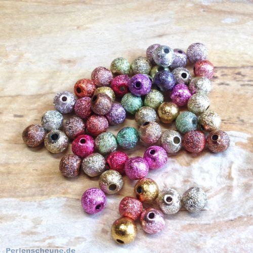 Perlenset 30 schöne Stardust Perlen Spacer bunter Mix 6 mm
