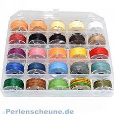 Box mit 25 Rollen je 10 m gewachster Polyester Perlfaden 0,55 mm