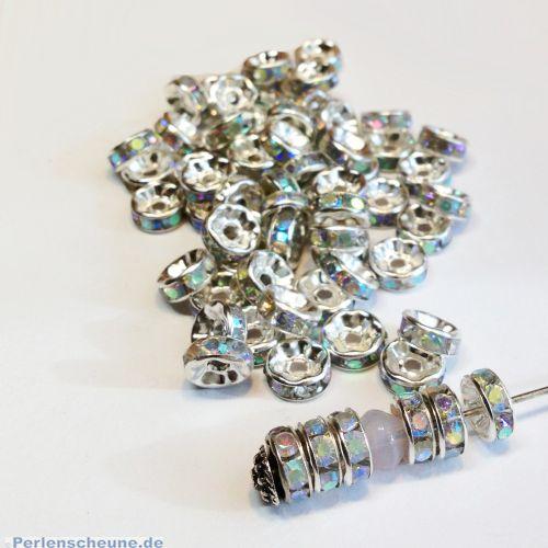 10 Metallspacer Strass Rondelle silber weiss irisierend 8 mm