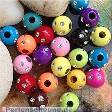 20 schöne Strasseffekt Perlen 12 mm Kinderperlen bunter Mix