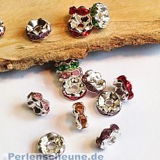 10 Metallspacer Strass Rondelle silber Farbmix 6 mm