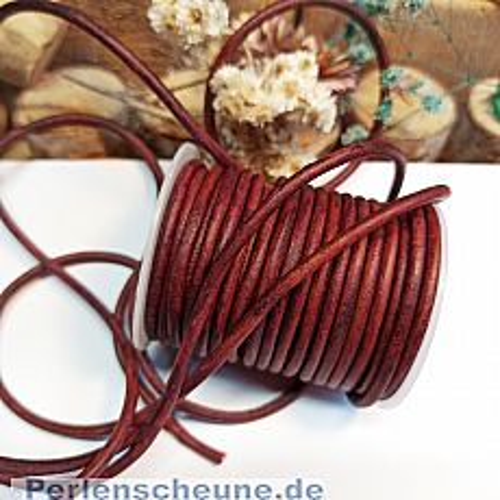 1 m Lederschnur Lederband Vintage 3 mm rotbraun Lederschnüre