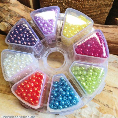 1500 Perlen Box Rainbow Acrylwachsperlen 4 mm Kugel