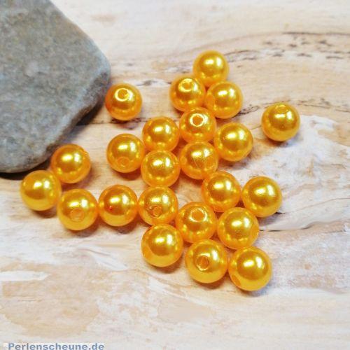 Perlenset mit 40 Kunststoffperlen Wachsperlen 8 mm orange