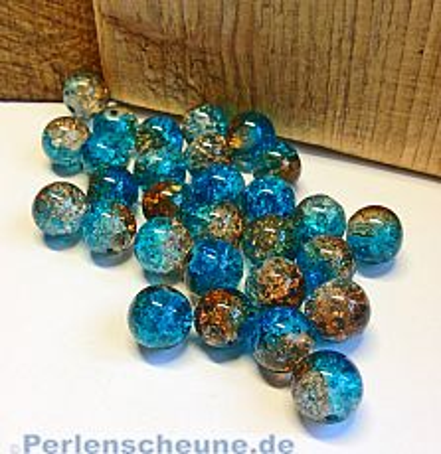 Perlenset 20 Crackleglasperlen blau braun 10 mm Kugel