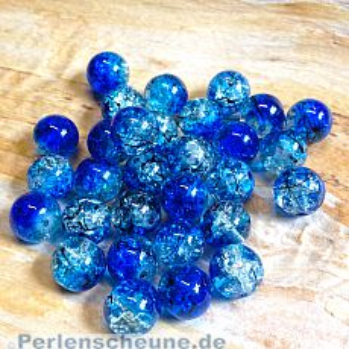 Perlenset 20 Crackleglasperlen blau 10 mm Kugel