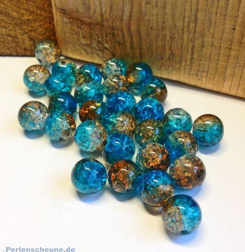 Perlenset 30 Crackleglasperlen blau braun 8 mm Kugel