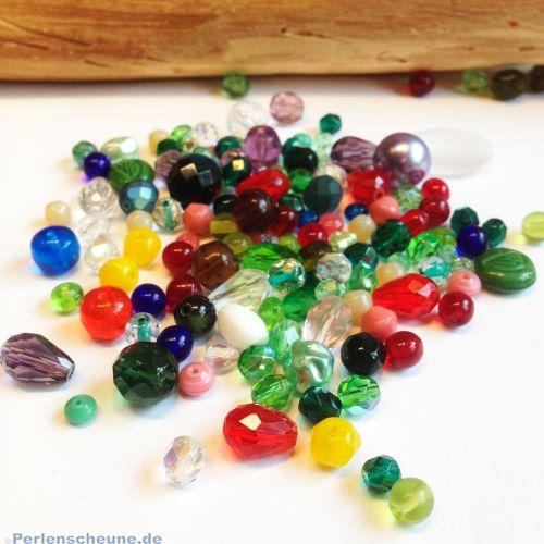 30 g geschliffene facettierte böhmische Glasperlen als Farb- und Formenmix