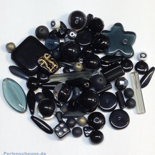 50 g böhmische Glasperlen als Mix in schwarz