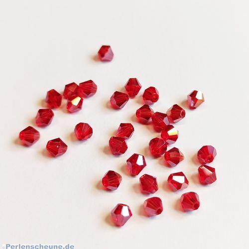 30 Facettierte und geschliffene Glasperlen Rhomben dunkelrot 4 mm