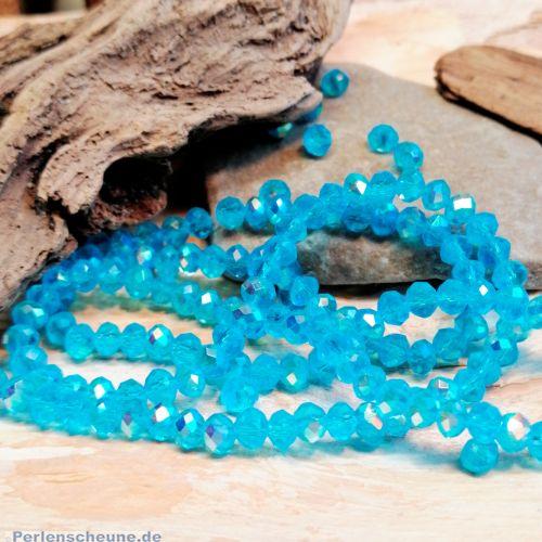 40 geschliffene Glasperlen Rondelle türkisblau 3 - 4 mm