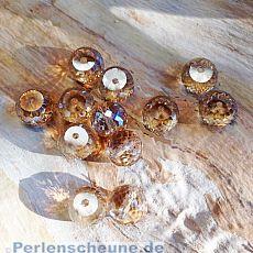4 Facettierte und geschliffene Glasperlen champagner 10 x 8 mm