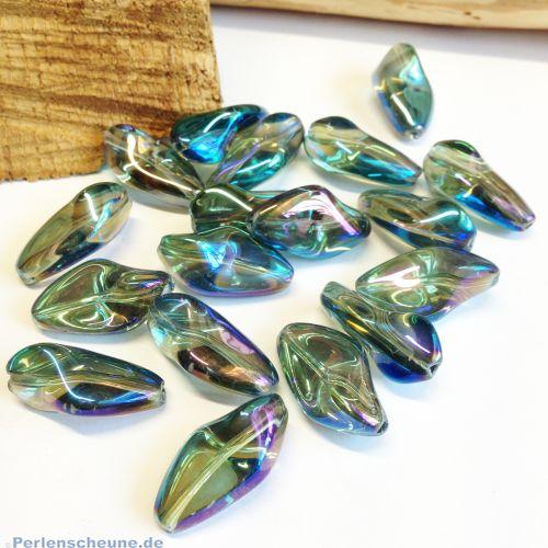 4 AB Glasperlen rauchblau lila unregelmäßig 22 x 13 mm