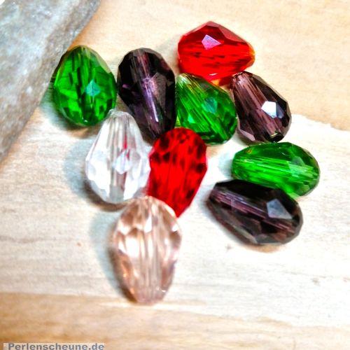 10 Facettierte und geschliffene Glastropfenperlen bunt Mix 11 x 8 mm