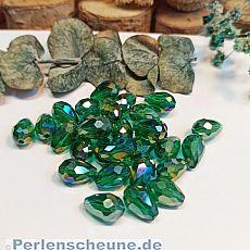 10 Faceted Glastropfenperlen smaragd grün 12 x 8 mm