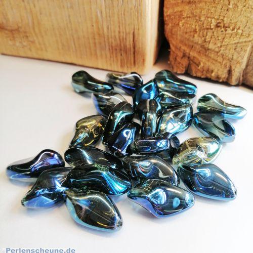 4 AB Glasperlen rauchblau irisierend dunkel unregelmäßig 22 x 13 mm