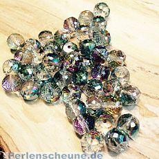 4 Facettierte und geschliffene Glasperlen irisierend 10 x 8 mm