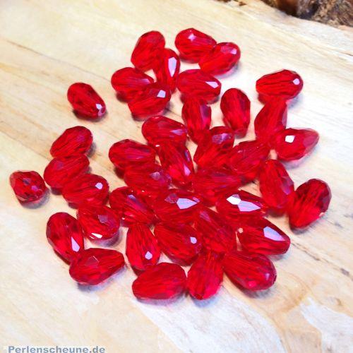 10 Facettierte und geschliffene Glastropfenperlen rot Mix 11 x 8 mm
