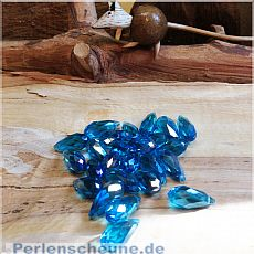 4 Faceted Glastropfen Anhänger türkisblau 17 x 7 mm