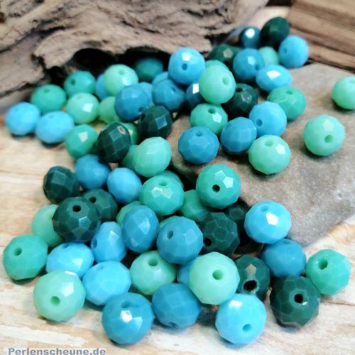30 Facettierte geschliffene Abacus Rondelle Glasperlen türkis blau grün 8 x 6 mm