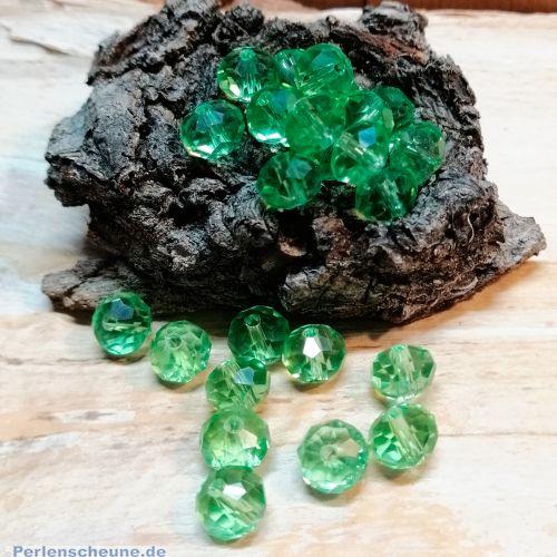 30 Facettierte geschliffene Rondelle Glasperlen apfelgrün 8 x 6 mm