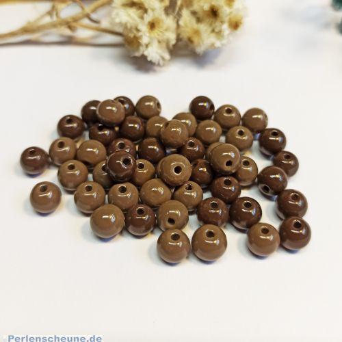30 Glasperlen Kugelform 6 mm brauntönig