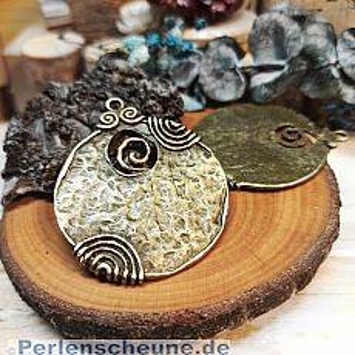 1 grosser Kettenanhänger Vintage 52 mm bronze antik