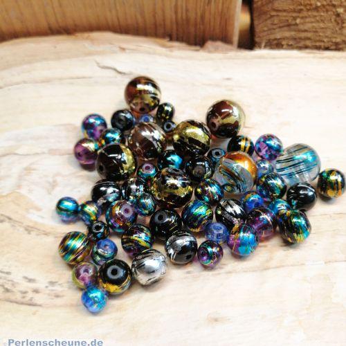 30 Glasperlen Cosmos Style 6-12 mm Farbmix