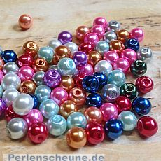Perlenset 50 Glaswachsperlen Kinderperlen bunter Mix 6 mm