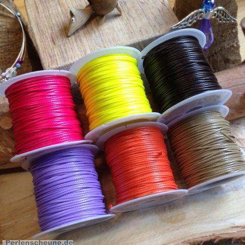 10 m Rolle Perlschnur 1 mm gewachst Polyester neongelb