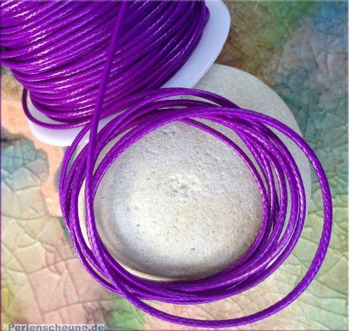 10 m Rolle Perlschnur 1 mm gewachste Baumwolle lila